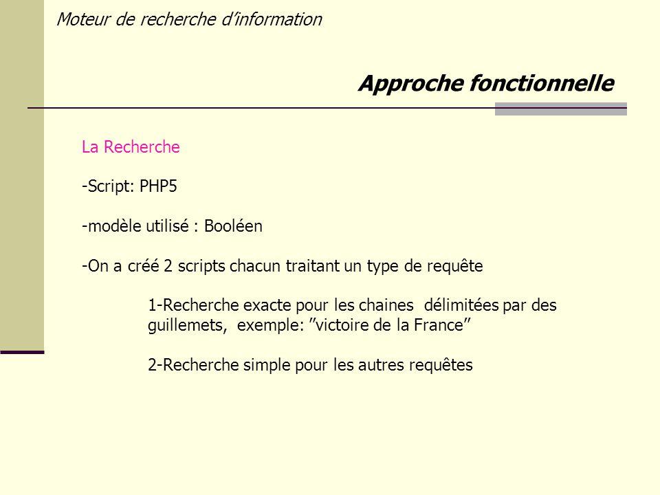 Moteur de recherche dinformation La Recherche -Script: PHP5 -modèle utilisé : Booléen -On a créé 2 scripts chacun traitant un type de requête 1-Recherche exacte pour les chaines délimitées par des guillemets, exemple: victoire de la France 2-Recherche simple pour les autres requêtes Approche fonctionnelle