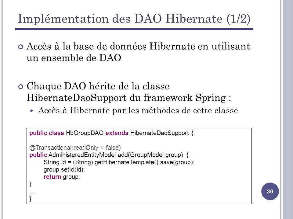 30 Implémentation des DAO Hibernate (1/2) Accès à la base de données Hibernate en utilisant un ensemble de DAO Chaque DAO hérite de la classe HibernateDaoSupport du framework Spring : Accès à Hibernate par les méthodes de cette classe public class HbGroupDAO extends HibernateDaoSupport { @Transactional(readOnly = false) public AdministeredEntityModel add(GroupModel group) { String id = (String) getHibernateTemplate().save(group); group.setId(id); return group; } … }