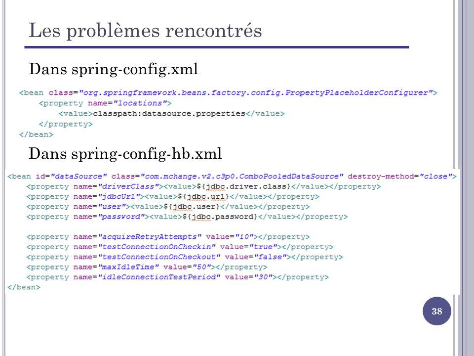 38 Les problèmes rencontrés Dans spring-config-hb.xml Dans spring-config.xml