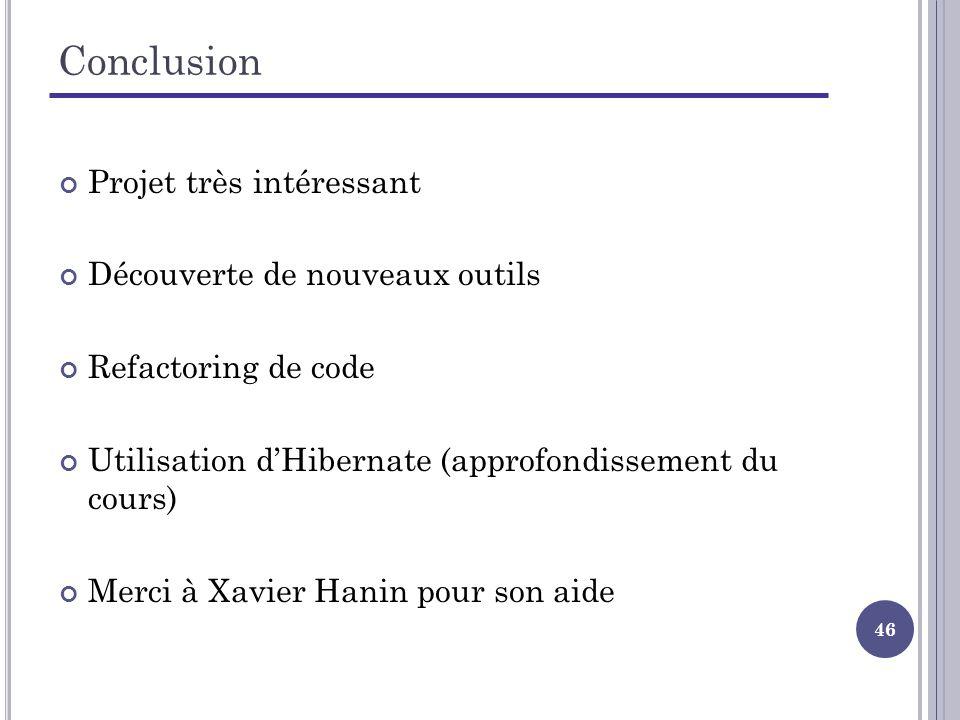 46 Conclusion Projet très intéressant Découverte de nouveaux outils Refactoring de code Utilisation dHibernate (approfondissement du cours) Merci à Xavier Hanin pour son aide