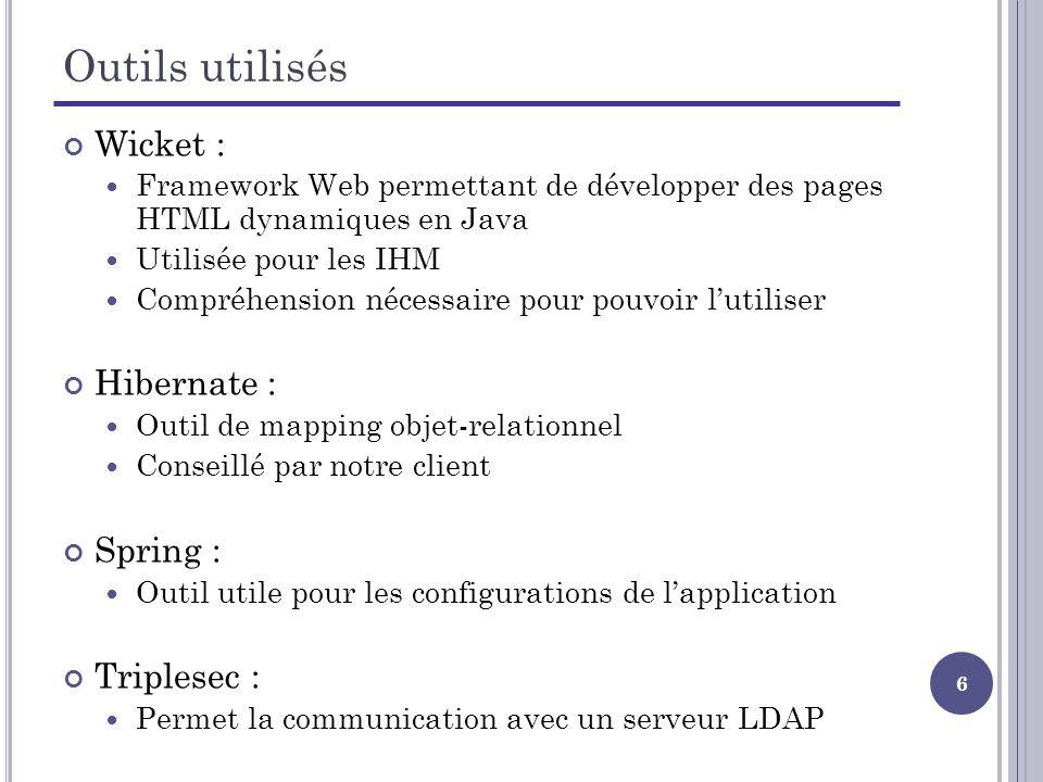 6 Outils utilisés Wicket : Framework Web permettant de développer des pages HTML dynamiques en Java Utilisée pour les IHM Compréhension nécessaire pour pouvoir lutiliser Hibernate : Outil de mapping objet-relationnel Conseillé par notre client Spring : Outil utile pour les configurations de lapplication Triplesec : Permet la communication avec un serveur LDAP