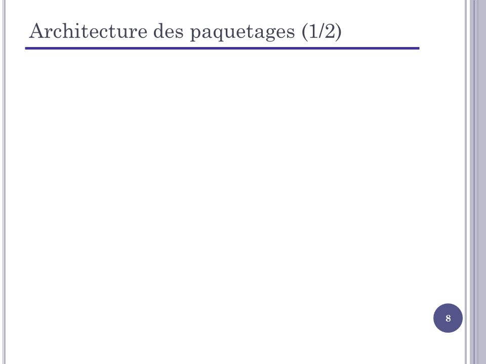 9 Architecture des paquetages (2/2) Réorganisation des paquetages Séparation des couches métier, vue et persistance