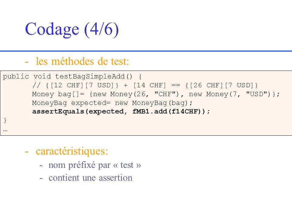 Codage (4/6) -les méthodes de test: -caractéristiques: -nom préfixé par « test » -contient une assertion public void testBagSimpleAdd() { // {[12 CHF][7 USD]} + [14 CHF] == {[26 CHF][7 USD]} Money bag[]= {new Money(26, CHF ), new Money(7, USD )}; MoneyBag expected= new MoneyBag(bag); assertEquals(expected, fMB1.add(f14CHF)); } …
