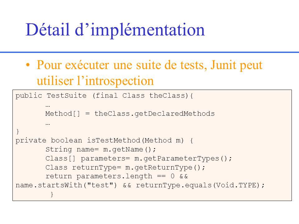 Détail dimplémentation Pour exécuter une suite de tests, Junit peut utiliser lintrospection public TestSuite (final Class theClass){ … Method[] = theClass.getDeclaredMethods … } private boolean isTestMethod(Method m) { String name= m.getName(); Class[] parameters= m.getParameterTypes(); Class returnType= m.getReturnType(); return parameters.length == 0 && name.startsWith( test ) && returnType.equals(Void.TYPE); }