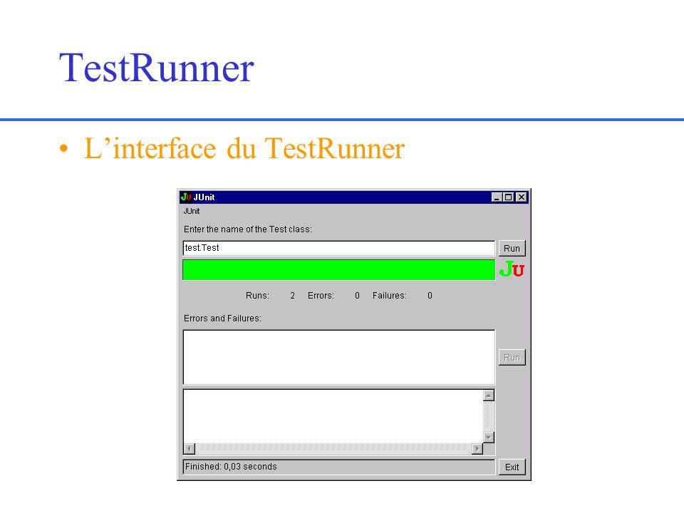 TestRunner Linterface du TestRunner