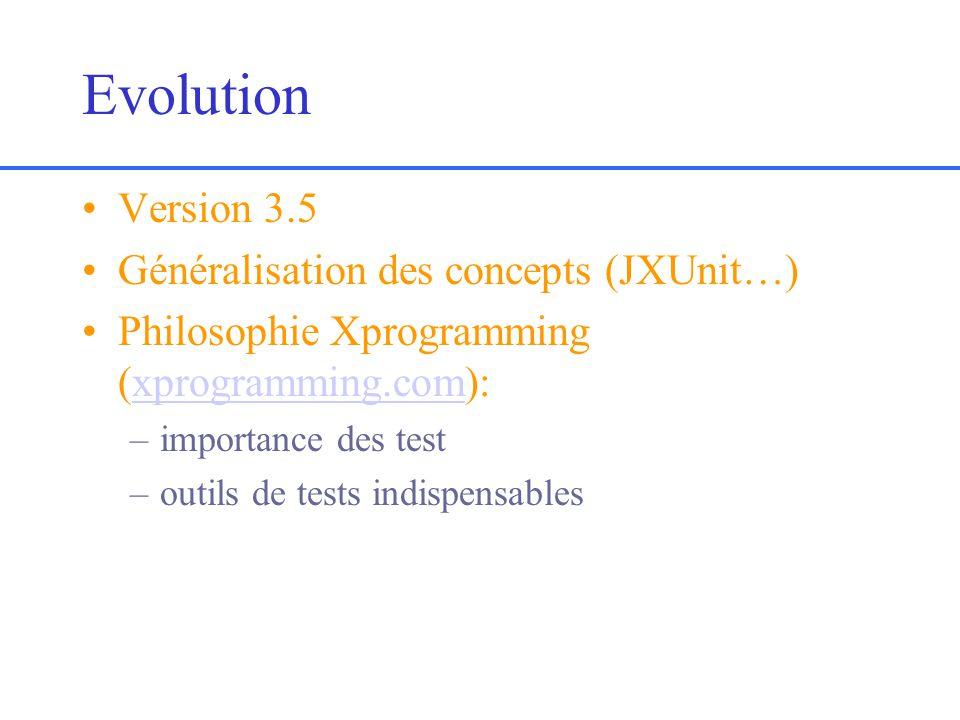 Evolution Version 3.5 Généralisation des concepts (JXUnit…) Philosophie Xprogramming (xprogramming.com):xprogramming.com –importance des test –outils de tests indispensables