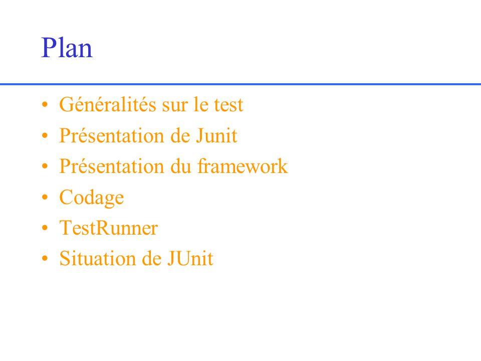 Plan Généralités sur le test Présentation de Junit Présentation du framework Codage TestRunner Situation de JUnit