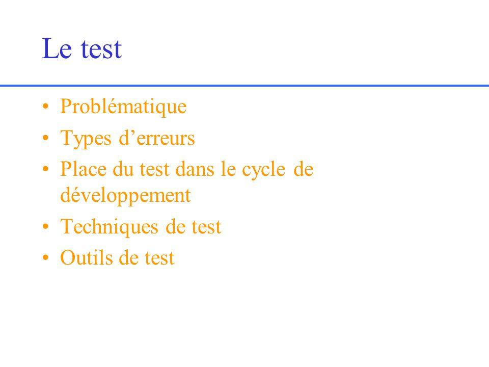 Le test Problématique Types derreurs Place du test dans le cycle de développement Techniques de test Outils de test