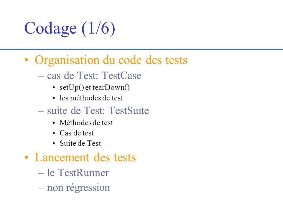 Codage (1/6) Organisation du code des tests –cas de Test: TestCase setUp() et tearDown() les méthodes de test –suite de Test: TestSuite Méthodes de test Cas de test Suite de Test Lancement des tests –le TestRunner –non régression