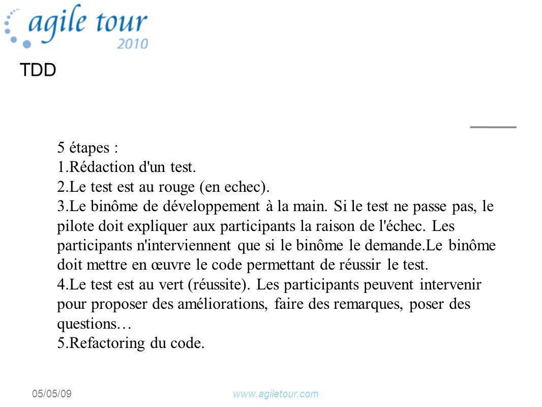 www.agiletour.com05/05/09 5 étapes : 1.Rédaction d un test.