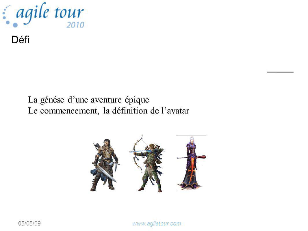 www.agiletour.com05/05/09 La génése dune aventure épique Le commencement, la définition de lavatar Défi