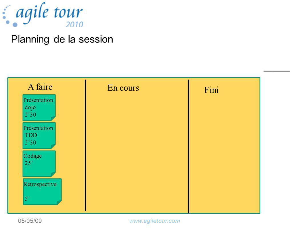 www.agiletour.com05/05/09 Planning de la session A faire En cours Fini Présentation dojo 230 Présentation TDD 230 Codage 25 Rétrospective 5