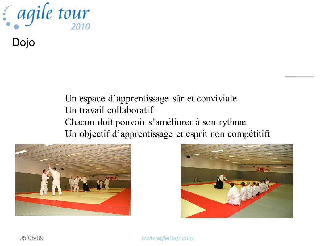 www.agiletour.com05/05/09 Dojo Un espace dapprentissage sûr et conviviale Un travail collaboratif Chacun doit pouvoir saméliorer à son rythme Un objectif dapprentissage et esprit non compétitift