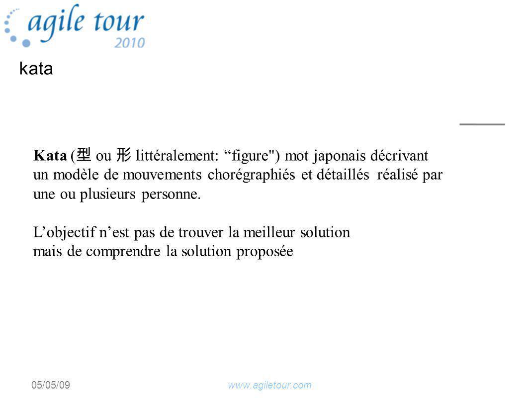 www.agiletour.com05/05/09 kata Kata ( ou littéralement: figure ) mot japonais décrivant un modèle de mouvements chorégraphiés et détaillés réalisé par une ou plusieurs personne.