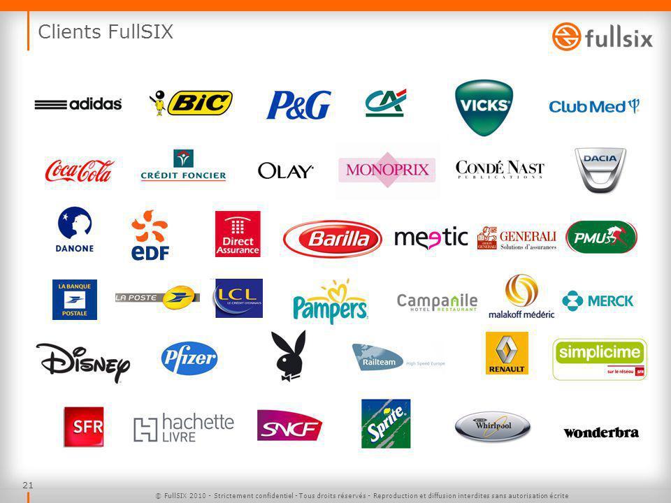 21 Clients FullSIX © FullSIX 2010 - Strictement confidentiel - Tous droits réservés - Reproduction et diffusion interdites sans autorisation écrite