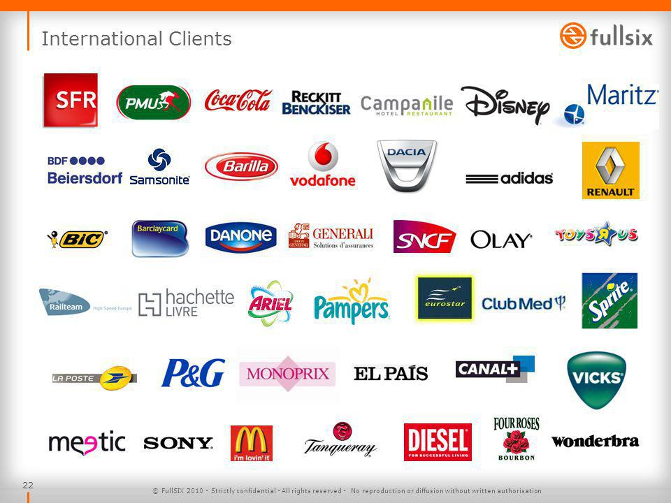 22 International Clients © FullSIX 2010 - Strictly confidential - All rights reserved - No reproduction or diffusion without written authorisation