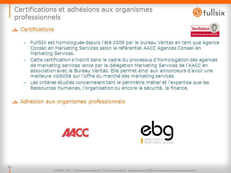 31 Certifications et adhésions aux organismes professionnels Certifications » FullSIX est homologuée depuis lété 2009 par le bureau Véritas en tant que Agence Conseil en Marketing Services selon le référentiel AACC Agences Conseil en Marketing Services.