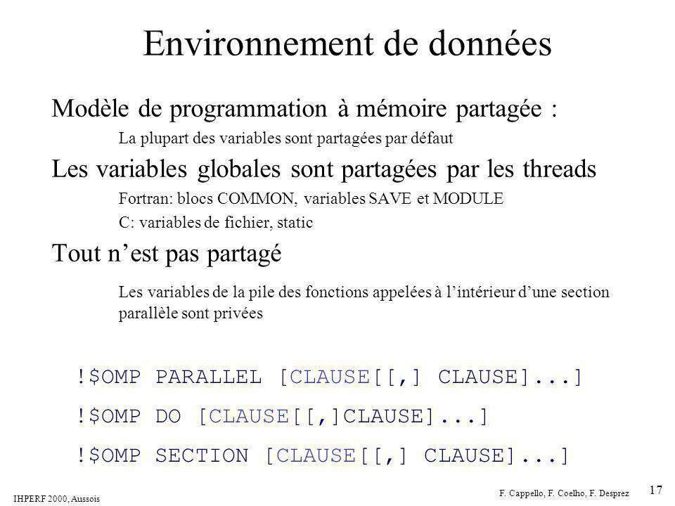 IHPERF 2000, Aussois F. Cappello, F. Coelho, F. Desprez 17 Environnement de données Modèle de programmation à mémoire partagée : La plupart des variab