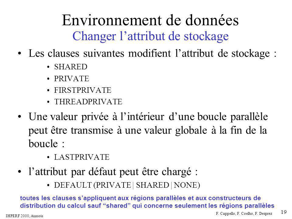 IHPERF 2000, Aussois F. Cappello, F. Coelho, F. Desprez 19 Environnement de données Changer lattribut de stockage Les clauses suivantes modifient latt