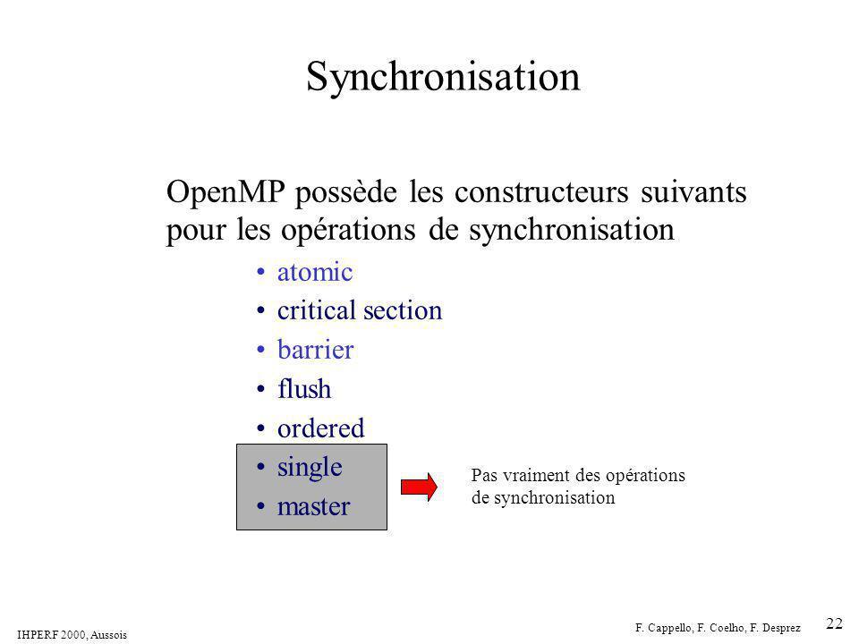 IHPERF 2000, Aussois F. Cappello, F. Coelho, F. Desprez 22 Synchronisation OpenMP possède les constructeurs suivants pour les opérations de synchronis