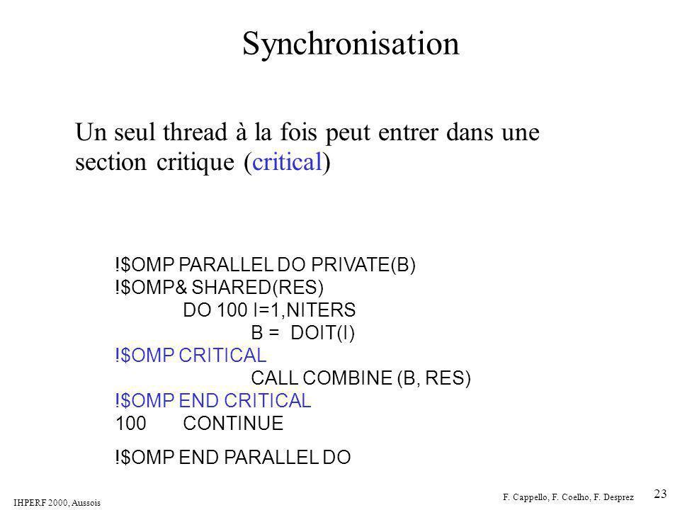 IHPERF 2000, Aussois F. Cappello, F. Coelho, F. Desprez 23 Synchronisation Un seul thread à la fois peut entrer dans une section critique (critical) !