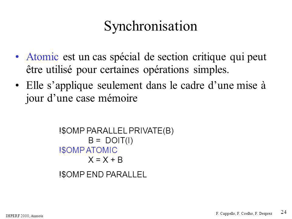 IHPERF 2000, Aussois F. Cappello, F. Coelho, F. Desprez 24 Synchronisation Atomic est un cas spécial de section critique qui peut être utilisé pour ce