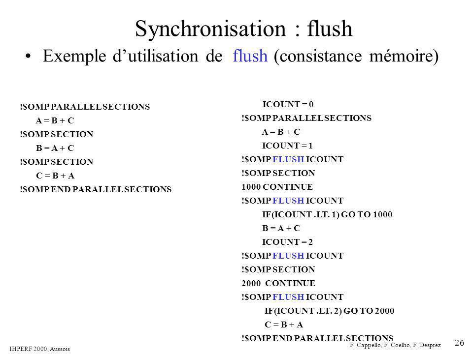IHPERF 2000, Aussois F. Cappello, F. Coelho, F. Desprez 26 Synchronisation : flush Exemple dutilisation de flush (consistance mémoire) ICOUNT = 0 !$OM