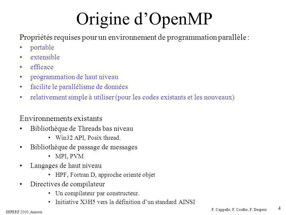 IHPERF 2000, Aussois F. Cappello, F. Coelho, F. Desprez 4 Origine dOpenMP Environnements existants Bibliothèque de Threads bas niveau Win32 API, Posix