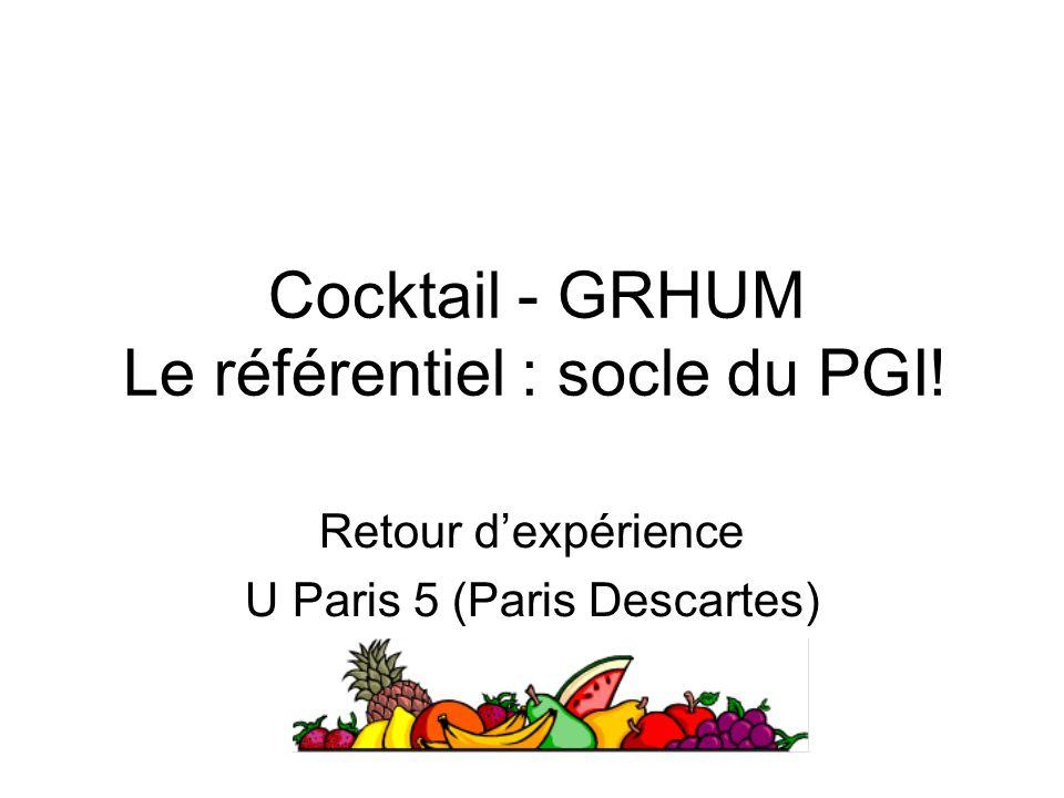Cocktail - GRHUM Le référentiel : socle du PGI! Retour dexpérience U Paris 5 (Paris Descartes)
