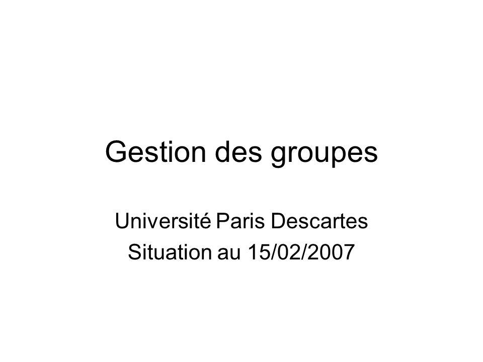 Gestion des groupes Université Paris Descartes Situation au 15/02/2007