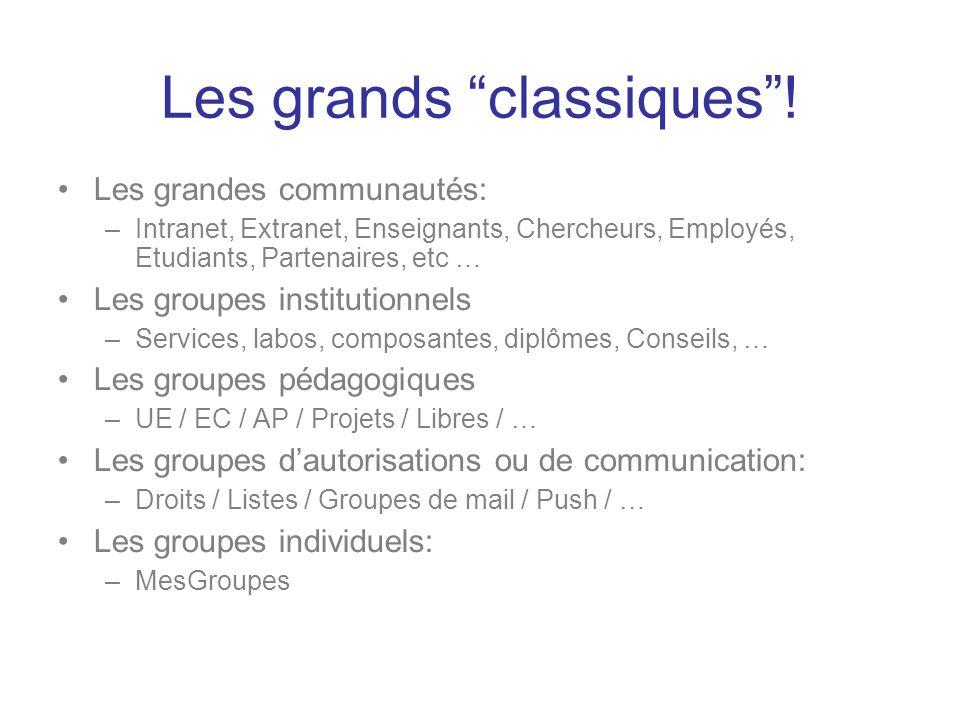 Les grands classiques! Les grandes communautés: –Intranet, Extranet, Enseignants, Chercheurs, Employés, Etudiants, Partenaires, etc … Les groupes inst