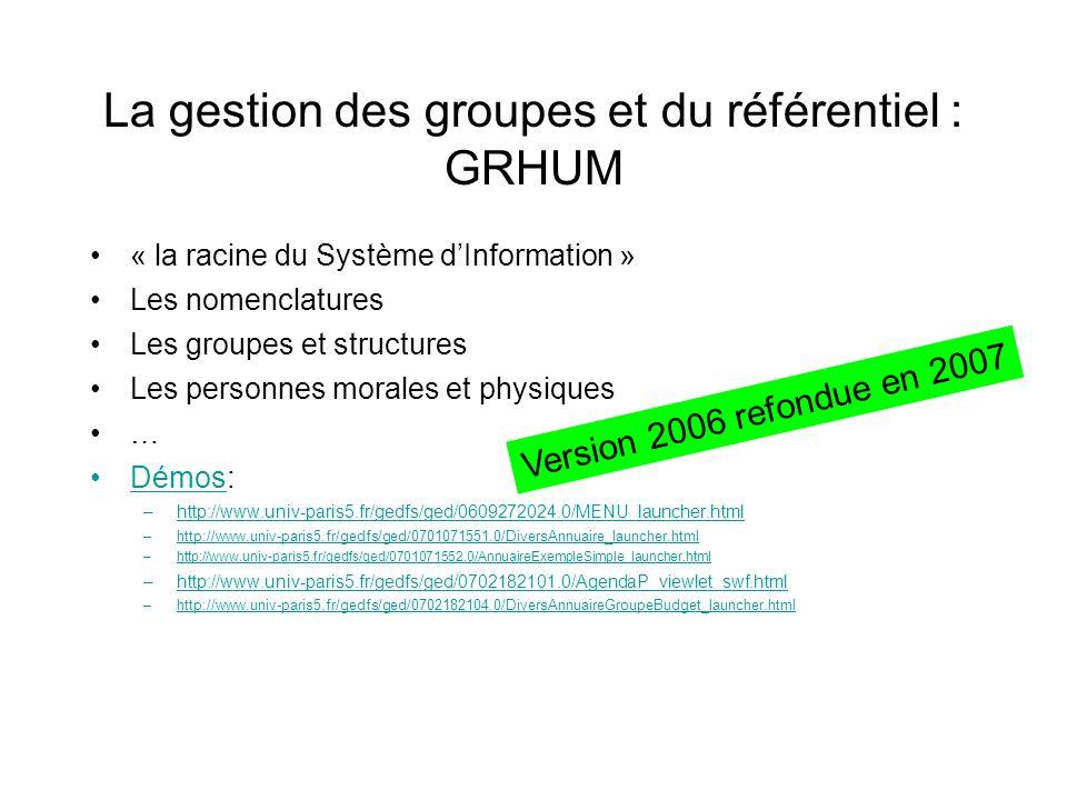 La gestion des groupes et du référentiel : GRHUM « la racine du Système dInformation » Les nomenclatures Les groupes et structures Les personnes moral