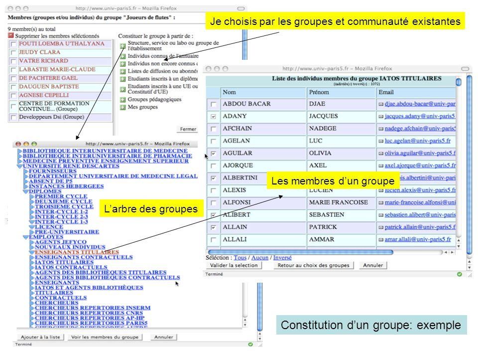 Constitution dun groupe: exemple Je choisis par les groupes et communauté existantes Larbre des groupes Les membres dun groupe
