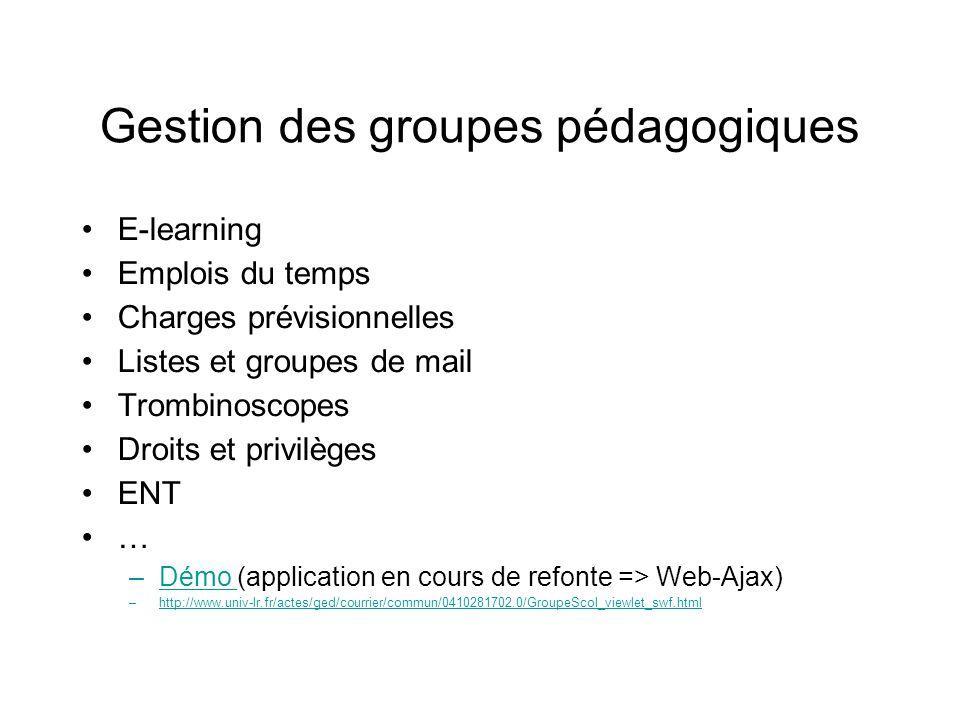 Gestion des groupes pédagogiques E-learning Emplois du temps Charges prévisionnelles Listes et groupes de mail Trombinoscopes Droits et privilèges ENT