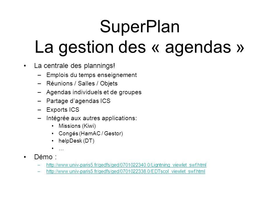 SuperPlan La gestion des « agendas » La centrale des plannings! –Emplois du temps enseignement –Réunions / Salles / Objets –Agendas individuels et de