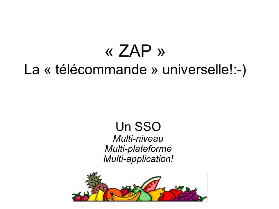 Un SSO Multi-niveau Multi-plateforme Multi-application! « ZAP » La « télécommande » universelle!:-)