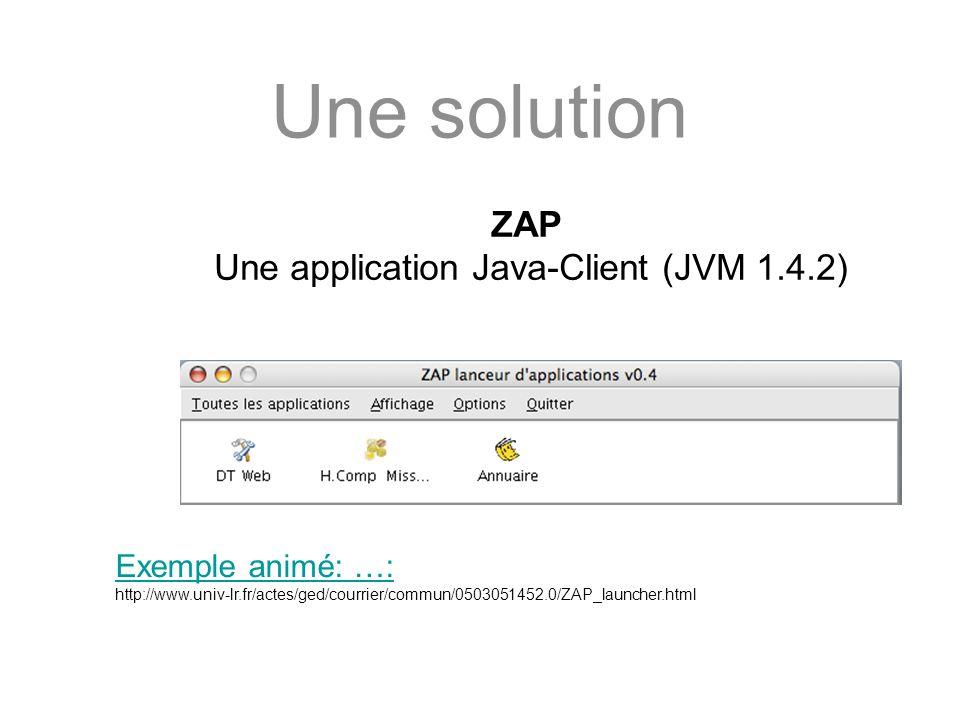 Une solution ZAP Une application Java-Client (JVM 1.4.2) Exemple animé: …: http://www.univ-lr.fr/actes/ged/courrier/commun/0503051452.0/ZAP_launcher.h