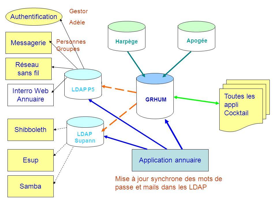 Les groupes à P5 Construction dune seule source de données: –Le référentiel GRHUM N applications / N vues différentes / N gestion –Annuaire.app –GroupeScol –Cor@il –TrombiWeb –StructureSA –…