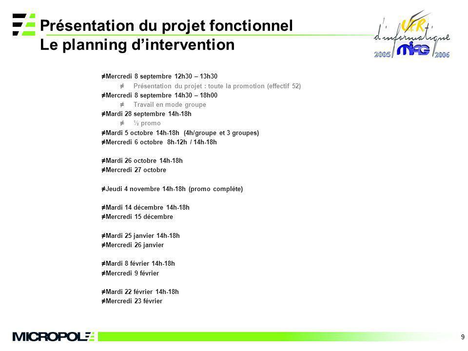 9 Présentation du projet fonctionnel Le planning dintervention Mercredi 8 septembre 12h30 – 13h30 Présentation du projet : toute la promotion (effecti