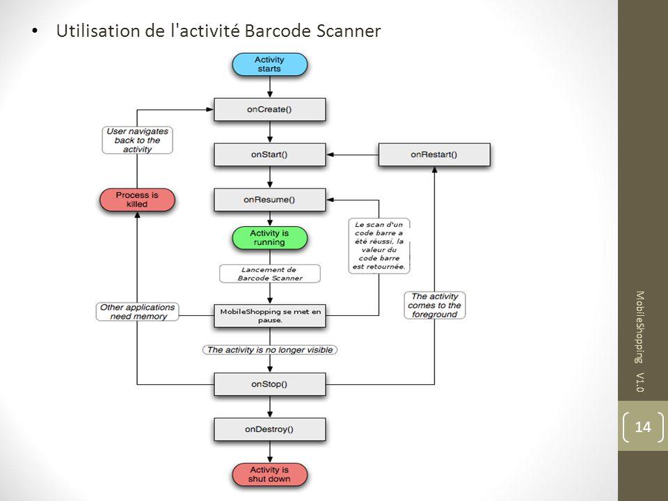 14 MobileShopping V1.0 Utilisation de l'activité Barcode Scanner