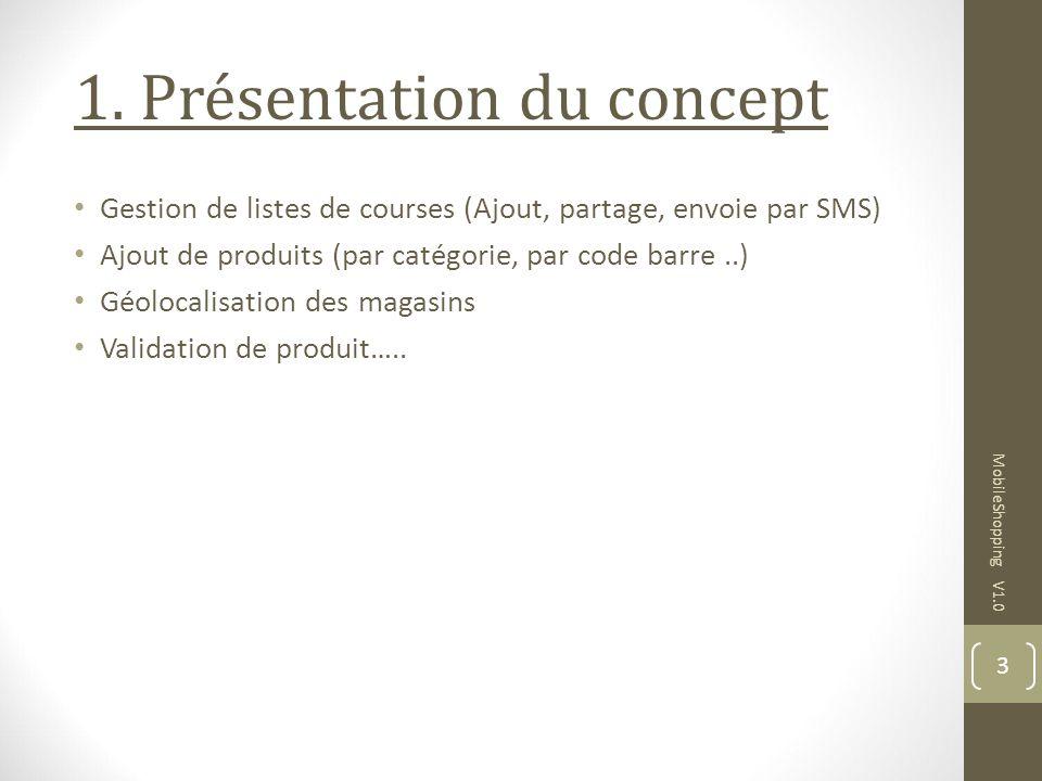 1. Présentation du concept Gestion de listes de courses (Ajout, partage, envoie par SMS) Ajout de produits (par catégorie, par code barre..) Géolocali