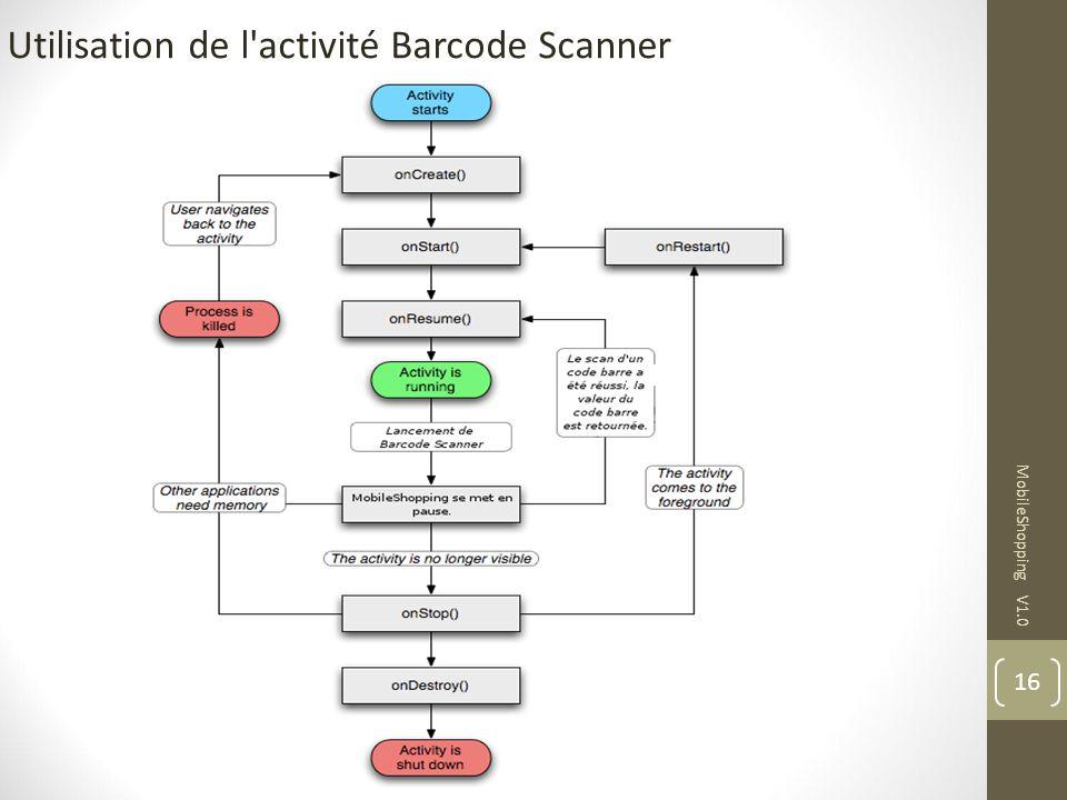 16 MobileShopping V1.0 Utilisation de l'activité Barcode Scanner