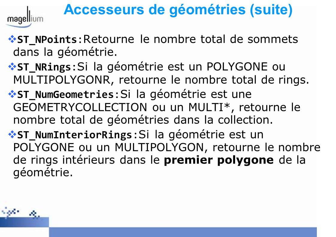 Accesseurs de géométries (suite) ST_NPoints:Retourne le nombre total de sommets dans la géométrie. ST_NRings:Si la géométrie est un POLYGONE ou MULTIP