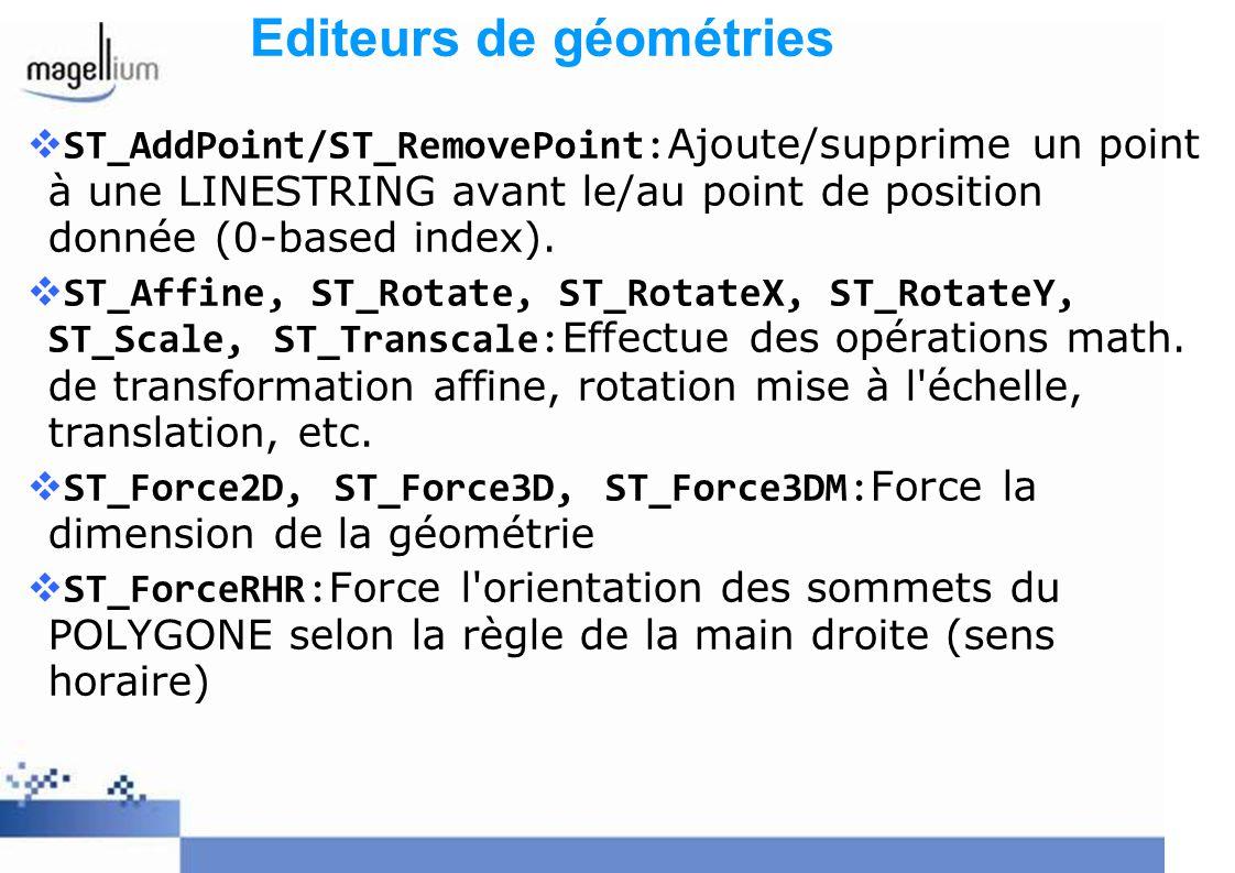 ST_AddPoint/ST_RemovePoint:Ajoute/supprime un point à une LINESTRING avant le/au point de position donnée (0-based index). ST_Affine, ST_Rotate, ST_Ro
