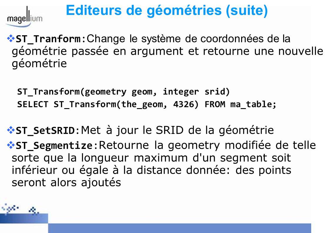 Editeurs de géométries (suite) ST_Tranform: Change le système de coordonnées de la géométrie passée en argument et retourne une nouvelle géométrie ST_