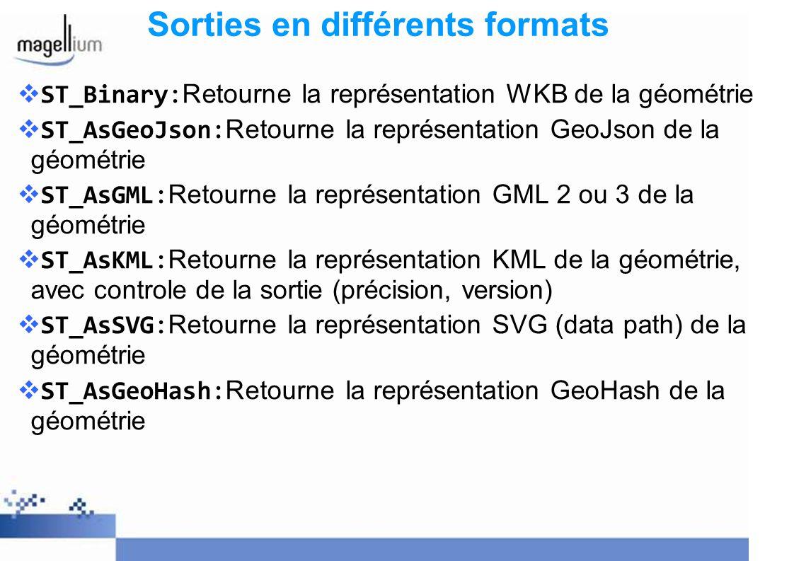 ST_Binary: Retourne la représentation WKB de la géométrie ST_AsGeoJson: Retourne la représentation GeoJson de la géométrie ST_AsGML: Retourne la repré