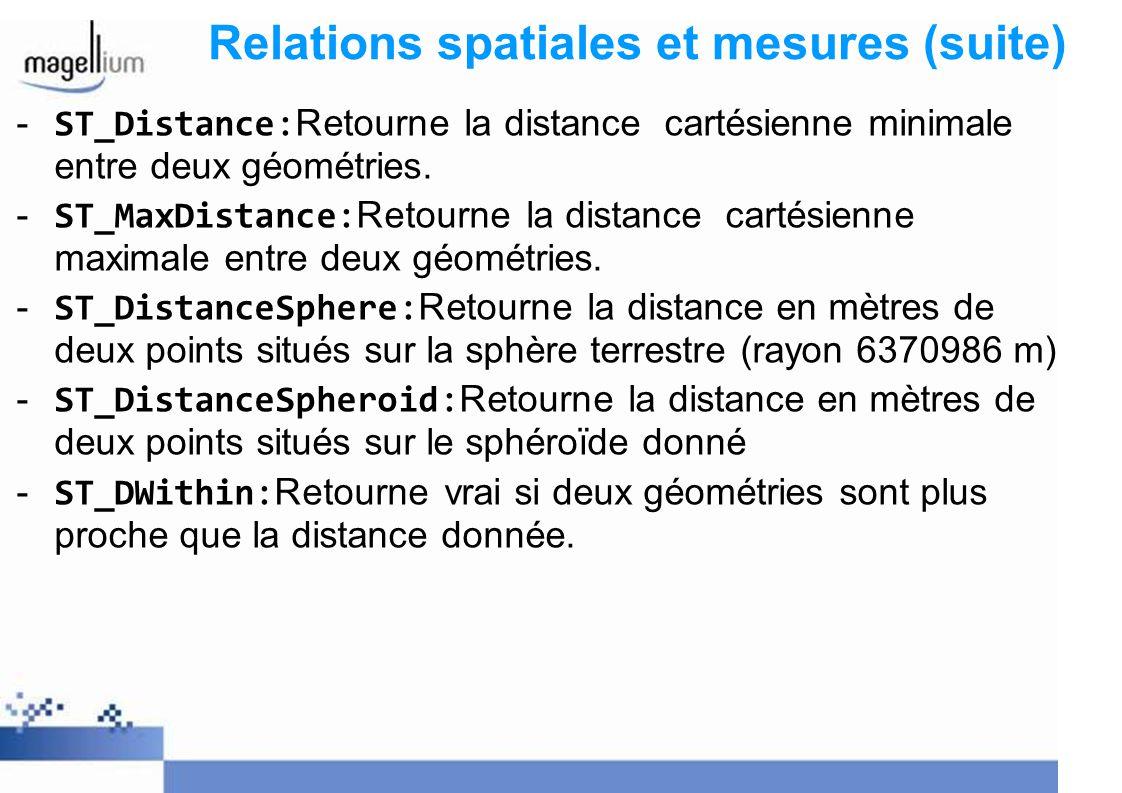 Relations spatiales et mesures (suite) - ST_Distance: Retourne la distance cartésienne minimale entre deux géométries. - ST_MaxDistance: Retourne la d