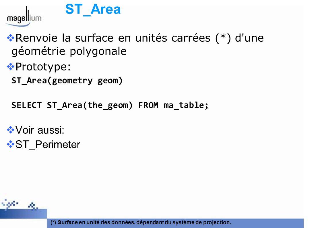 ST_Area Renvoie la surface en unités carrées (*) d'une géométrie polygonale Prototype: ST_Area(geometry geom) SELECT ST_Area(the_geom) FROM ma_table;