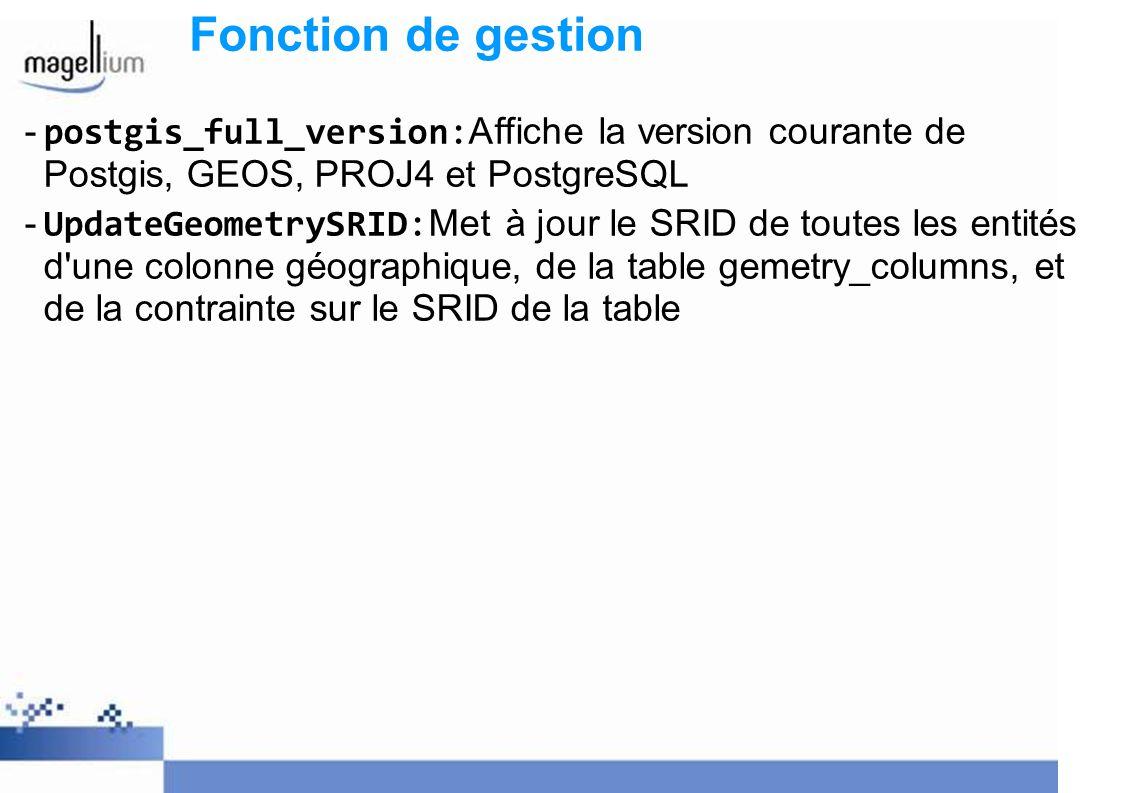 Fonction de gestion - postgis_full_version: Affiche la version courante de Postgis, GEOS, PROJ4 et PostgreSQL - UpdateGeometrySRID: Met à jour le SRID