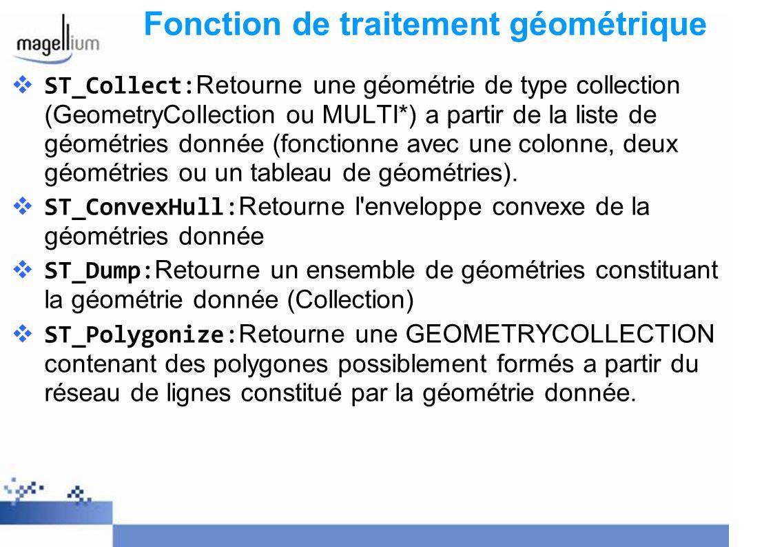 Fonction de traitement géométrique ST_Collect: Retourne une géométrie de type collection (GeometryCollection ou MULTI*) a partir de la liste de géomét